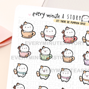 Pumpkin spice latte lover, hot fall drinks stickers- LOW STOCK!