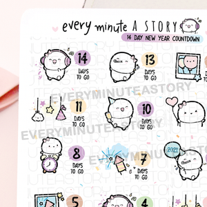 14 day New Year countdown stickers