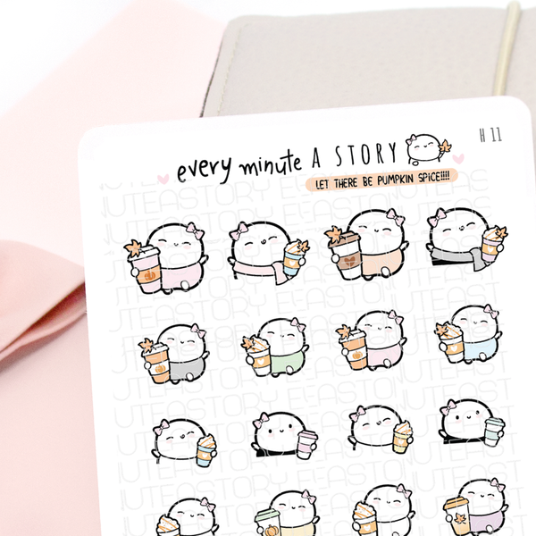 Pumpkin spice latte Beanies, fall stickers-LOW STOCK!