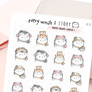 Painted Dreams Beanie sticker sampler, fox, sloth, kitty, penguin- LOW STOCK!