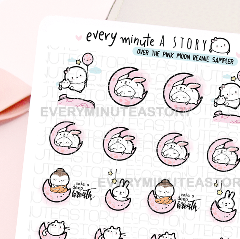 Over the pink moon Beanie sticker sampler, buddha, bunny