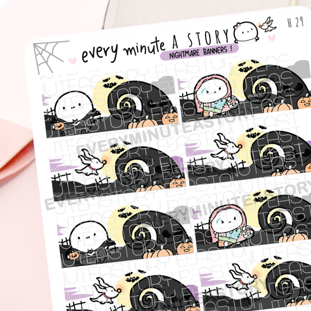 Nightmare before Christmas banners stickers, Halloween, Jack- LOW STOCK!
