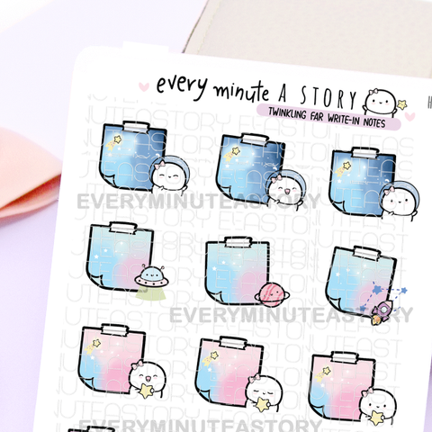 Space themed write-in notes stickers