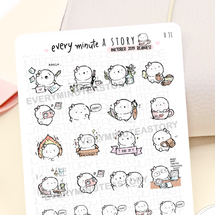 Inktober 2019 Stickers | Hand-drawn- LIMITED EDITION!