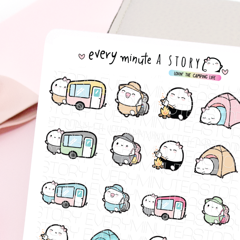 Camp, Camping Beanie planner stickers- LOW STOCK!