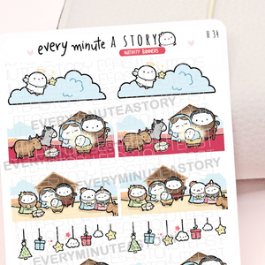 Nativity banner stickers, Christmas- LOW STOCK!