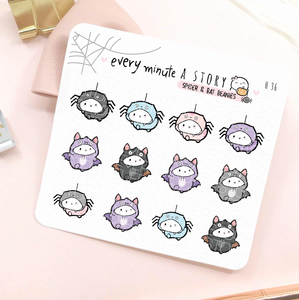Beanie bats and spiders stickers-LOW STOCK!