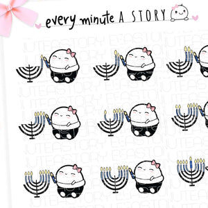 Beanie Menorah lighting Hanukkah planner stickers - Every Minute A Story