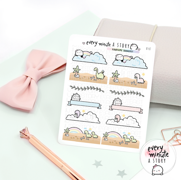 Dino banners planner stickers- LOW STOCK!