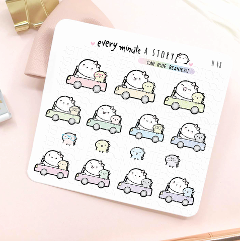 Dino and Beanie car ride planner stickers- LOW STOCK!