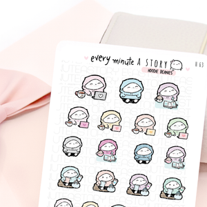 Hoodie Beanies stickers | planner girl, work