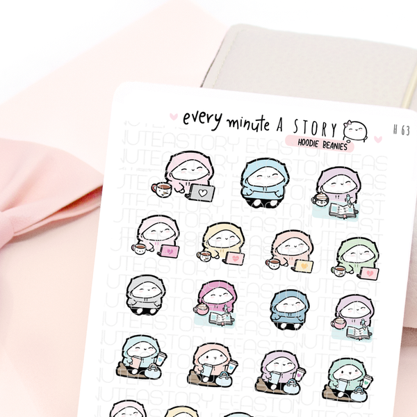 Hoodie Beanies stickers | planner girl, work, fall, winter-LOW STOCK