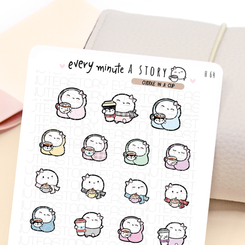 Cuddle in a cup Beanies stickers | hot cocoa, coffee, to go cups