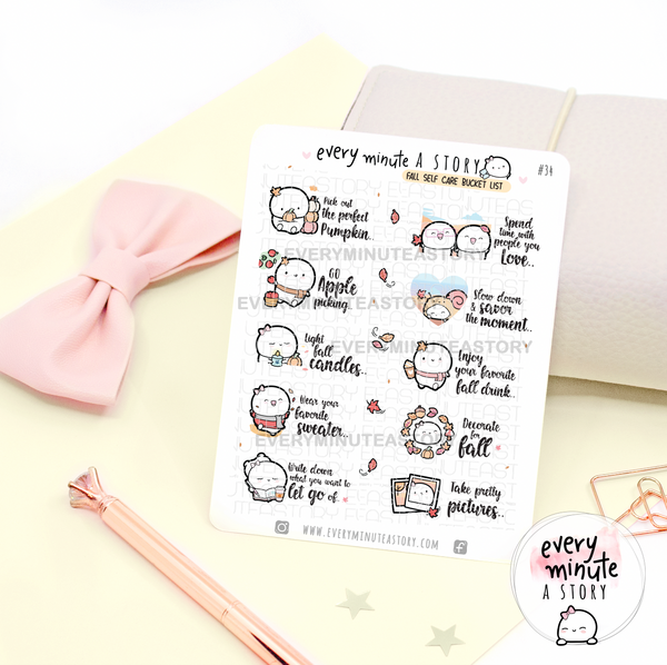 Fall self care bucket list stickers- LOW STOCK!