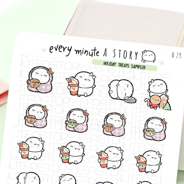 Holiday treats stickers- gingerbread, hot cocoa and lattes-LOW STOCK!