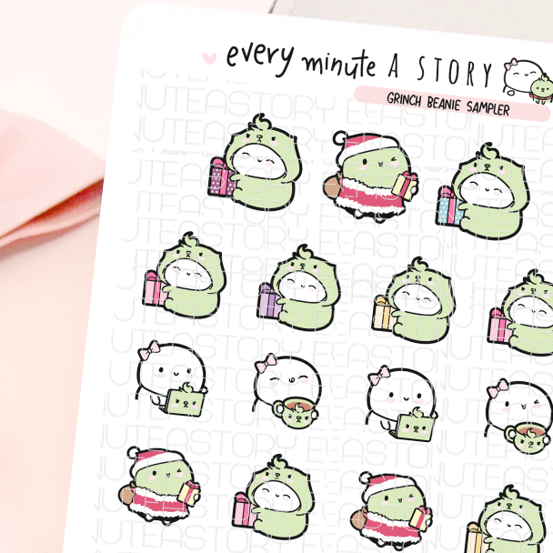 Grinch Beanie Sampler, holiday stickers-LOW STOCK!