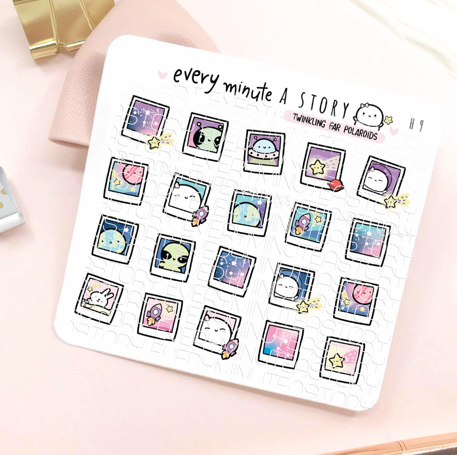 Space themed polaroids stickers