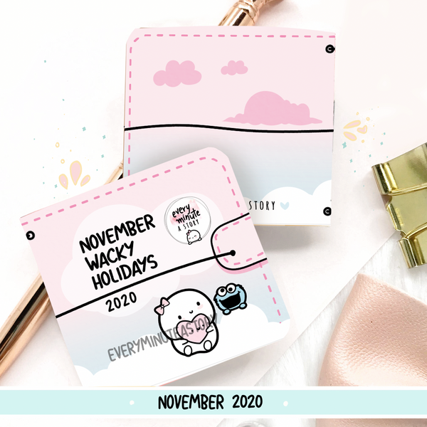 November 2020 Wacky Holidays Sticker book, monthly calendar