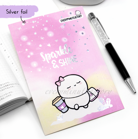 Sparkle and shine girl boss silver foil Journaling/Postcard- LIMITED STOCK!