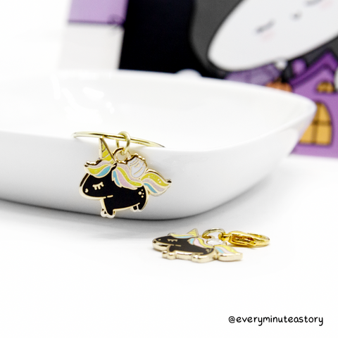 Spooky rainbow unicorn hard enamel charm- LIMITED STOCK!