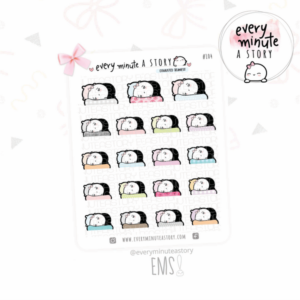 Exhausted/tired Beanie planner stickers- LOW STOCK!