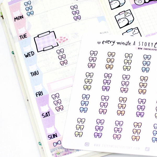 Bow checklists, planner stickers, Hobonichi weeks