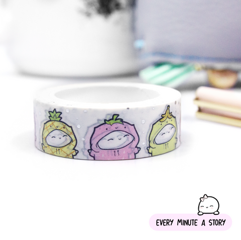 Fruity Beanie washi, silver foil | -LOW STOCK!