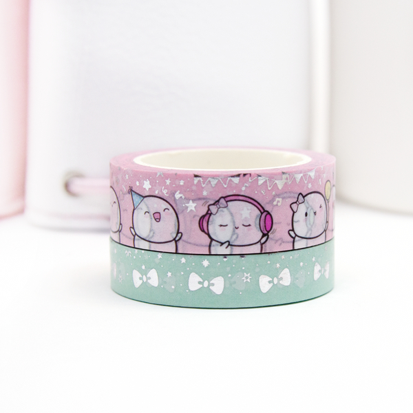 Celebrating moments-Sparkle and Confetti Beanie washi, silver foil | LIMITED STOCK!