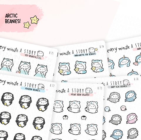 Arctic winter Beanies | Snow fox, Seal, Narwhal, Polar Bear, Penguin, Yeti