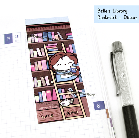 Belle's Library bookmark/die cut, Belle, reading
