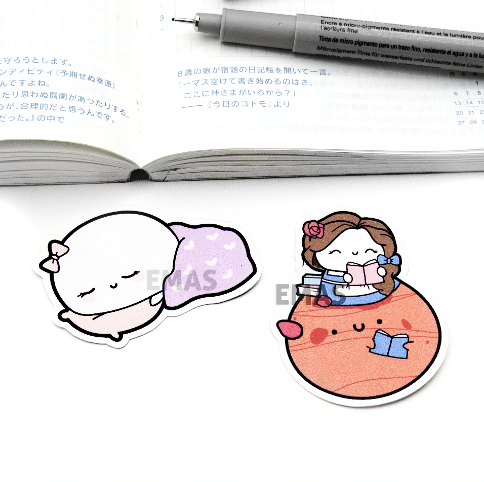 Sleep in Beanie and Belle reading sticker paper die cuts