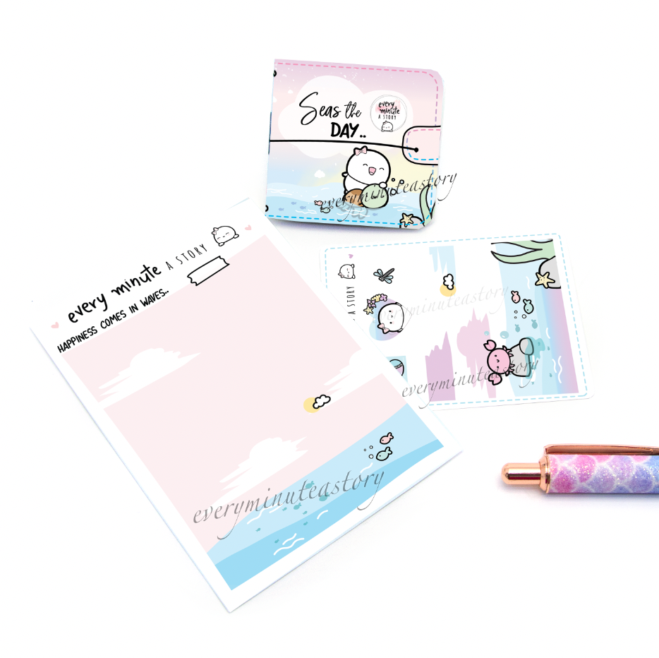 Seas the day, summer Sticker book and Jelly cover add on- LOW STOCK!