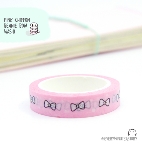 Limited Stock! Pink Chiffon Beanie bow washi tape-LOW STOCK!