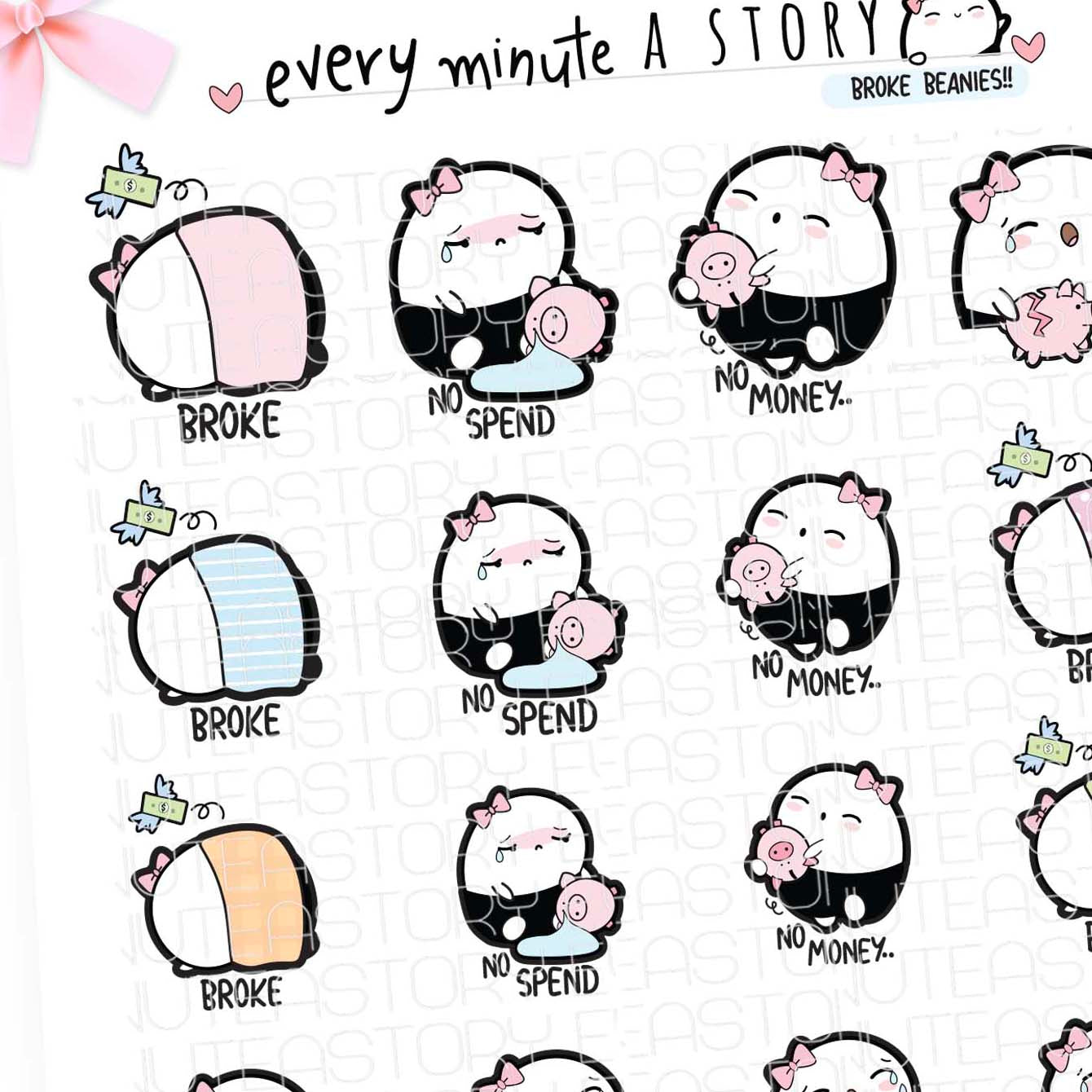 No spend/broke/no money Beanie planner stickers