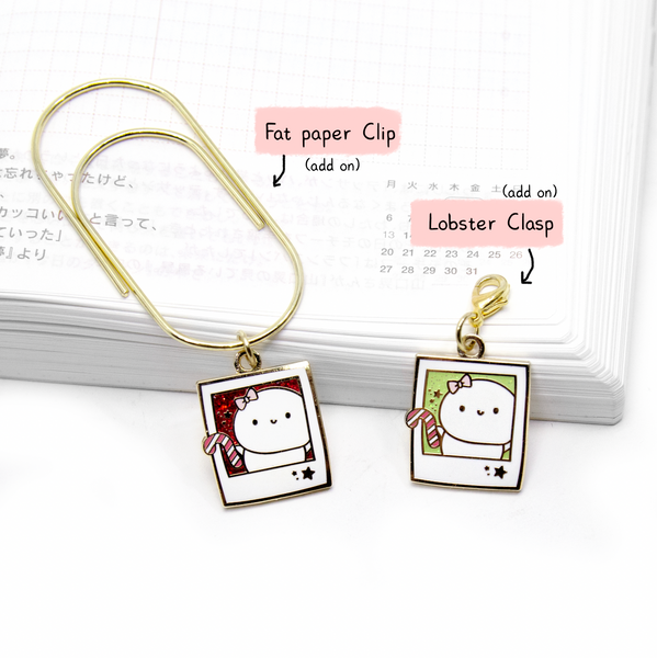 Candy Cane polaroids Beanie hard enamel charm- LIMITED STOCK!