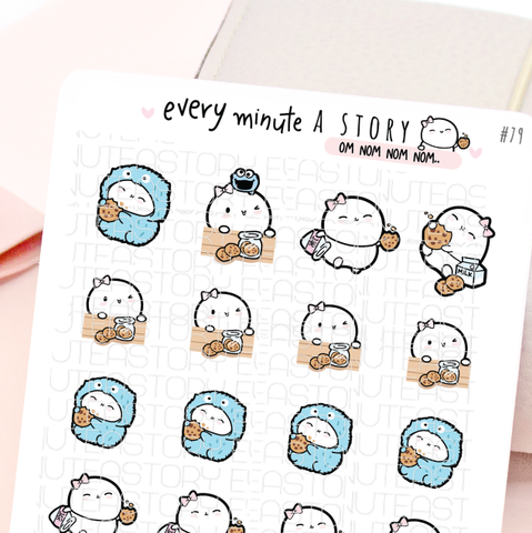 Cookie lover, om nom nom, cookie monster Beanie stickers