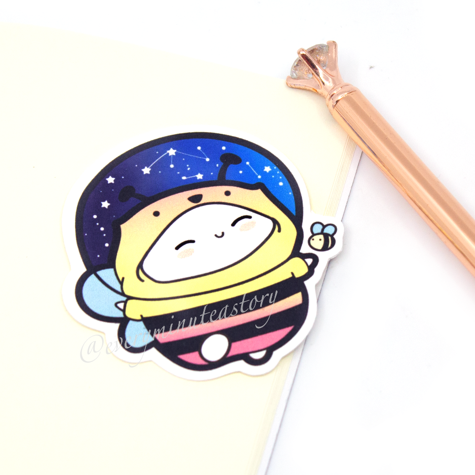 Bee-nie in space, honey bee die cut- LOW STOCK!