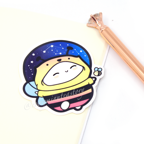 Bee-nie in space, honey bee die cut