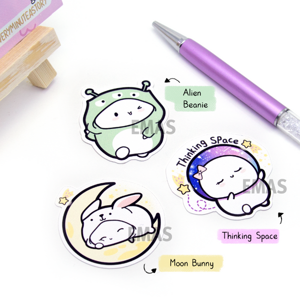 Space themed die cuts- Alien onesie, thinking space, moon bunny