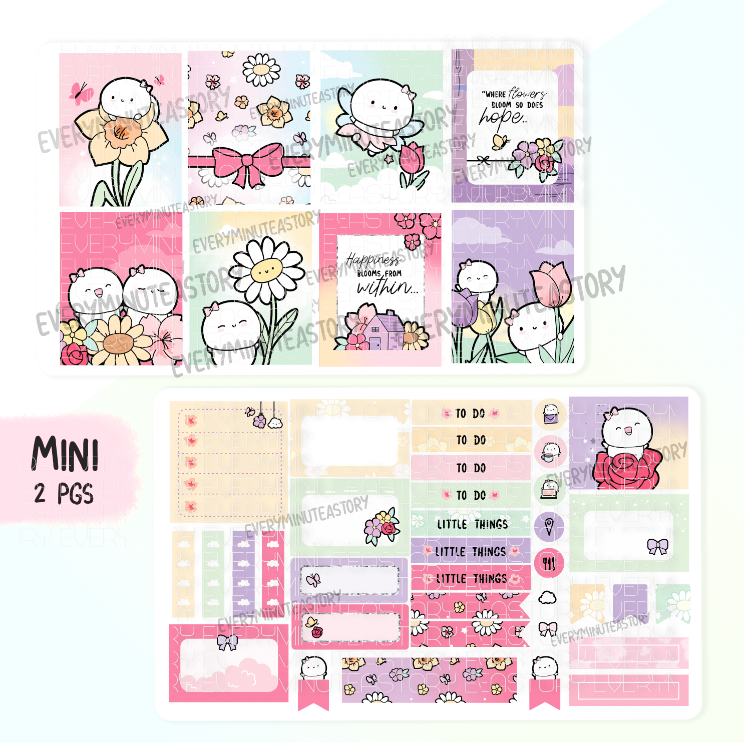 Happiness blooms from within floral hand-drawn kit- mini and full kit