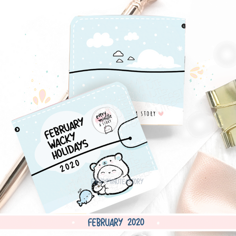 February 2020 Wacky Holidays Sticker book, monthly calendar