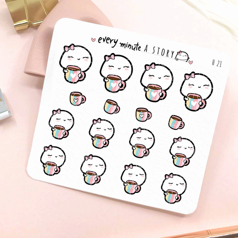 Beanie with lashes and rainbow cups stickers- 'Hello Sunshine' collection