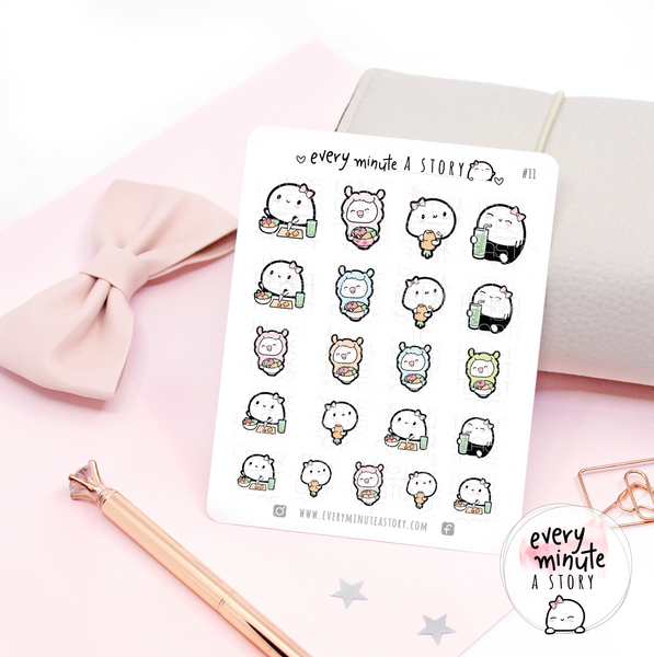 Eating healthy Beanie llama planner stickers