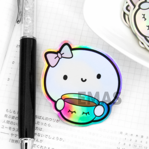 Beanie lashes cup Holographic weatherproof Vinyl die cut sticker, holo- LIMITED STOCK!