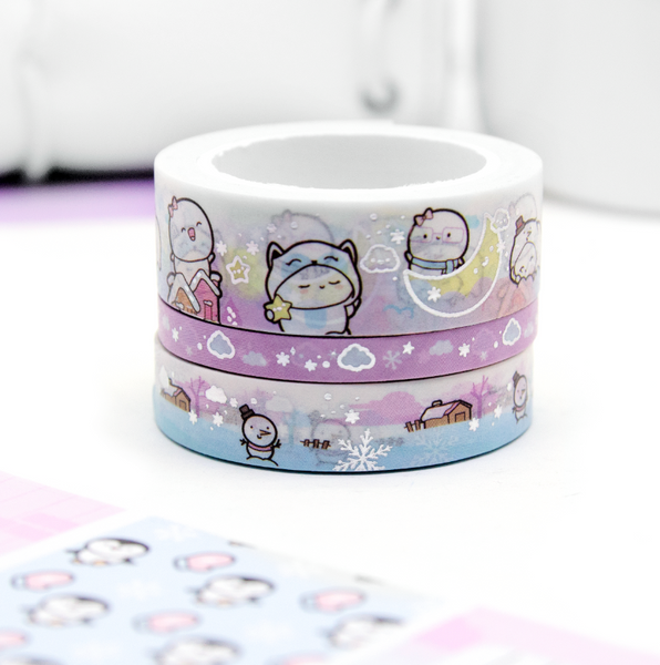 Winter wonderland Beanie washi Set of 3, silver foil | LIMITED STOCK!