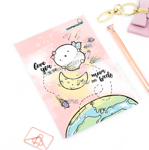 Hand drawn- love you to the moon and back Journaling/Postcard- LIMITED STOCK!