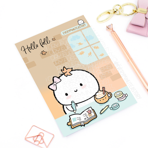 Hello Fall planner girl journaling card | LIMITED STOCK!