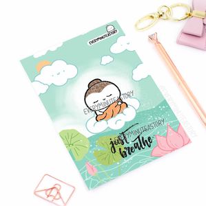 Just Breathe Buddha Beanie Journaling/Postcard- LIMITED STOCK!
