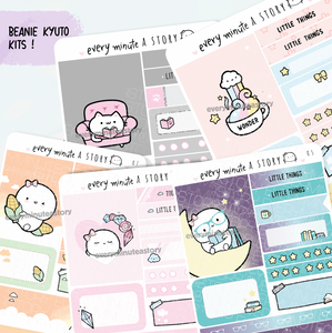 Set 3- Assorted Kyu-to Beanie Monthlies Kits, crystal, potion, nerdy purr-tato, book nerd, corncobs