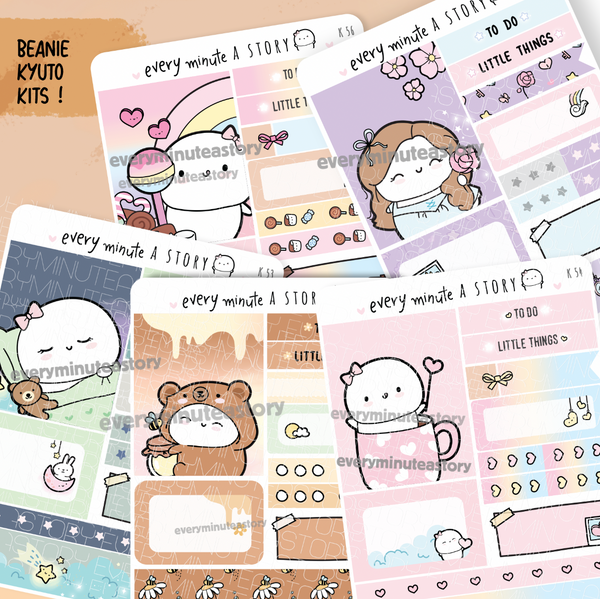 Set 9- Assorted Kyu-to Beanie Monthlies Kits, Bear, sleep in, heart mug, enchanted land, candy land